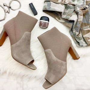 Taupe Suede and Knit Open Toe Booties